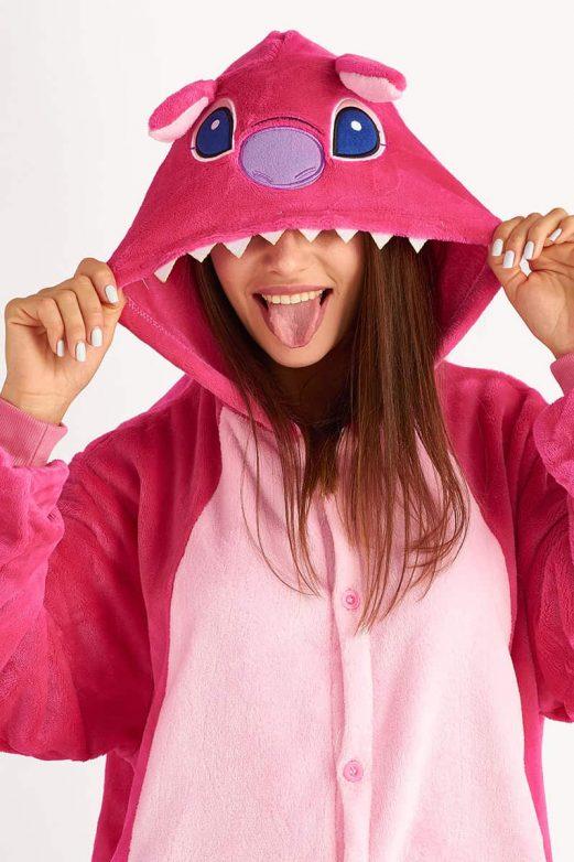 пижама кигуруми стич розовый