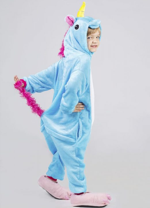 пижама кигуруми голубой единорог детский