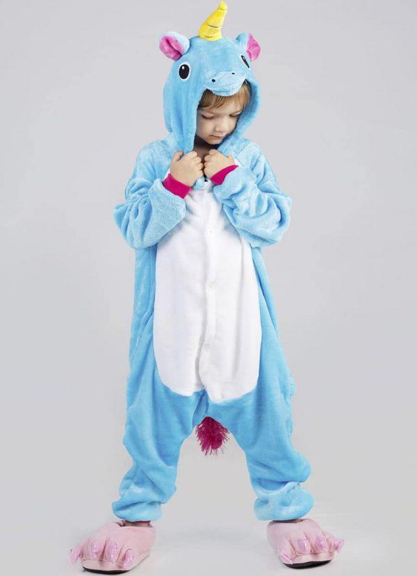 Детская пижама Единорог голубой