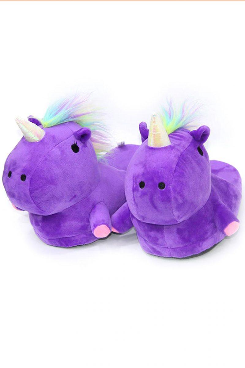 тапочки единороги фиолетовые