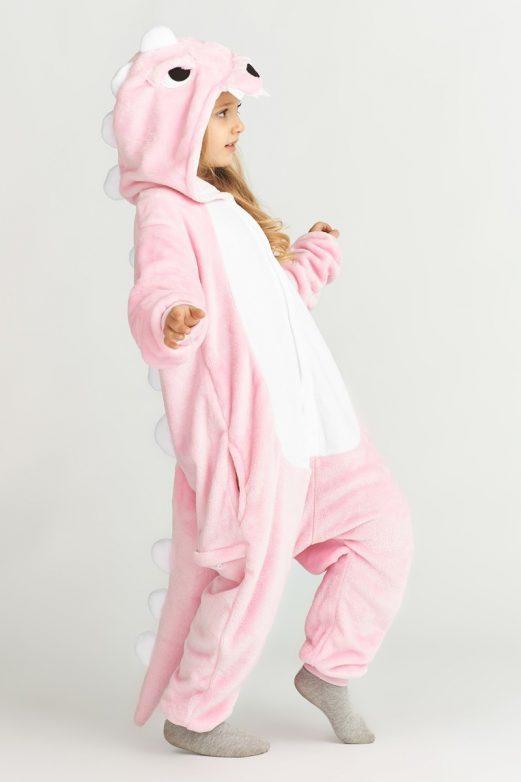 пижама дино розовый детская